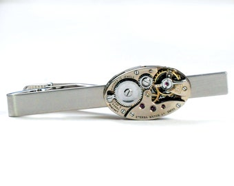 Steampunk Vintage Eterna Watch Movement Tie Bar Alligator Clip
