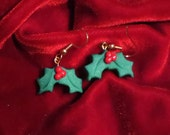 Holly Earrings with Sparkle Red Berries Dangle Style Polymer Clay