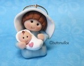Mary and Jesus Ornament,  Hand Sculpted Miniature Nativity Ornament, One and one half Inches tall, Blue Dress, Personalized White Veil