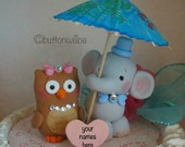 Owl and Elephant Wedding Cake Topper An Unlikely Pair  Personalized Heart Custom Made