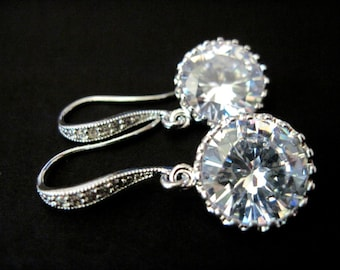 Bridal Earrings Clear Round Crystal and Rhinestone Wedding Earrings  Felicity