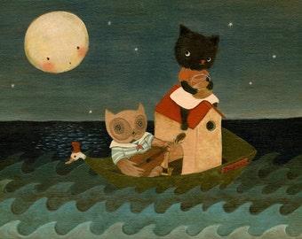 The Owl And The Pussycat Print 10x8 - Nursery Art, Cute, Children's Art, Kids Art, Red, Indigo Blue, Moon, Sea, Pea Green, Nursery Rhyme