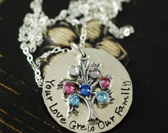 Tree of Life Necklace, Hand Stamped Necklace, Family Tree Necklace, Family - Grandmother Necklace - Mommy Necklace