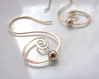 Gold Swirl Earrings Hammered with Classic Simple Swirls and Bead Accent