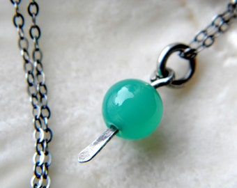 Green chrysoprase gemstone necklace - sterling silver handmade jewelry