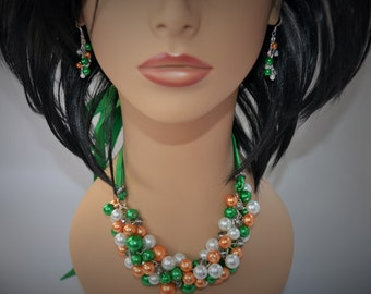 READY TO SHIP: Kelly Green and Orange Irish St. Patrick's Day Ribbon and Glass Pearl Bridesmaid Necklace and Earring Set