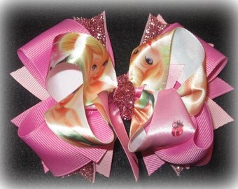 Pink hairbows, Birthday party bow, Tinkerbell Hair Bow, Tinker Bell Hairbow, Pixie Fairy Hairbows, Princess Hairbow, Boutique Bow, Large bow