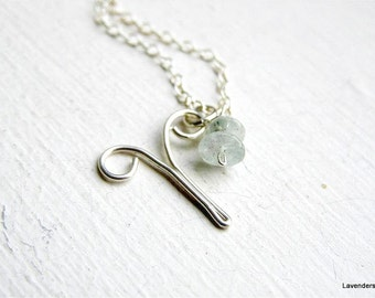 Aries Necklace , Handmade Zodiac Aries Charm , Aquamarine Necklace , March / April Birthday , Sterling Silver