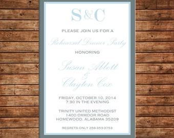 Formal Elegant Wedding Bridal Bride Groom Monogram Shower Rehearsal Dinner Couple Party Invitation - DIGITAL FILE