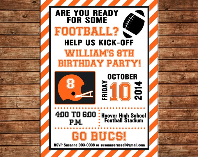 Football Boy Tailgate Sports Stadium Shower Party Birthday Invitation - DIGITAL FILE