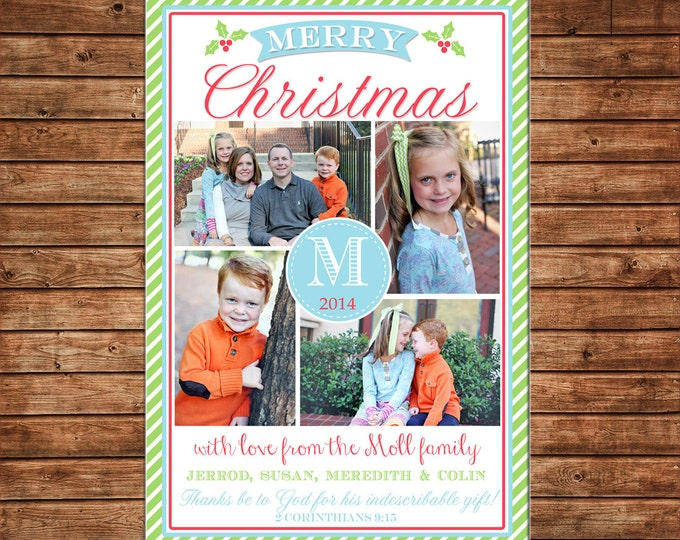 Photo Picture Christmas Holiday Card Stripe 4 Pictures Monogram Traditional- Digital File