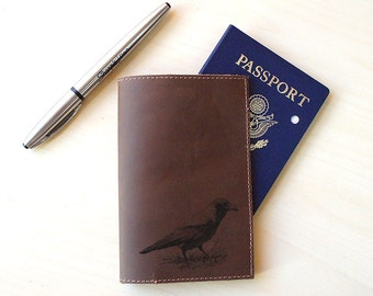 Handmade Leather Passport Holder [Multicolor] [Customizable] [Crow]