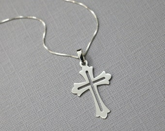 Silver Cross Necklace, Sterling Silver Cross Necklace, Confirmation Gift, Baptism Gift, Baptism Necklace, Confirmation Necklace Gift for Her