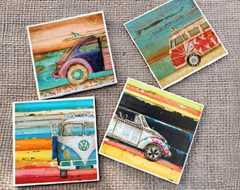 TILE DRINK COASTERS - Set of 4 - Vw volkswagen van bus bug beach art home decor coastal summer housewarming hostess gift mothers day ceramic