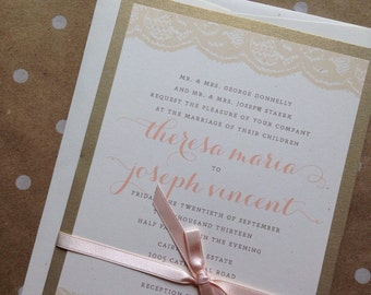 Pale pink + champagne lace Wedding Invitation Suite