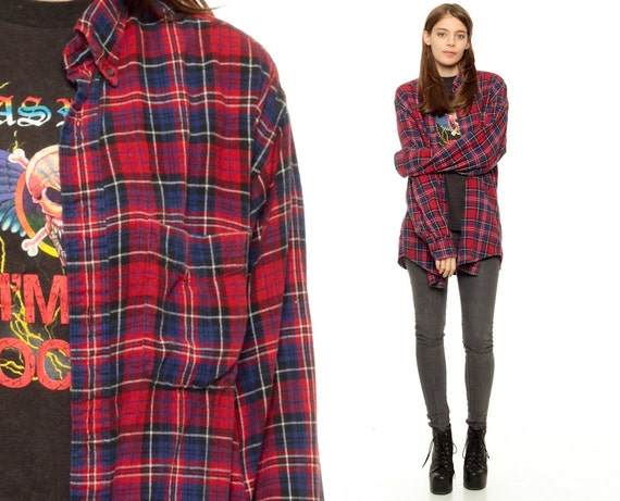 Oversized Flannel Shirt 80s Plaid Shirt Red Blue Grunge
