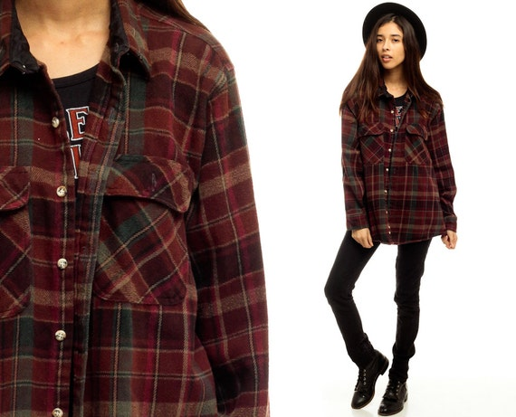 Plaid shirt 90s grunge flannel burgundy red long sleeve up for Oversized plaid shirt womens