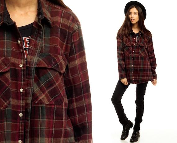 plaid shirt 90s grunge flannel burgundy red long sleeve up. Black Bedroom Furniture Sets. Home Design Ideas
