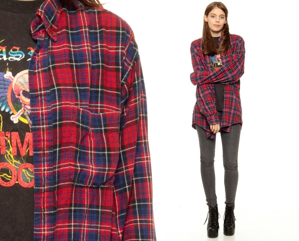 Oversized Flannel Shirt 80s Plaid Shirt Red Blue Grunge Down