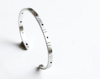 """Modern sterling silver cuff bracelet with a repeating chiseled line and drilled hole pattern, perfect thin cuff for stacking - """"Reverb Cuff"""""""