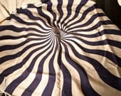 "30 x 30"" utterly far out op art Yves St Laurent white and navy cotton scarf"