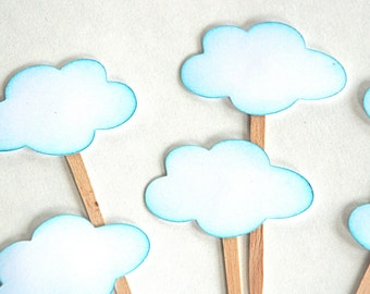 Blue Fluffy Clouds - Cupcake Toppers/Party Sticks