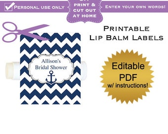 DIY editable printable lip balm labels (No.2) navy chevron anchor favors baby shower or wedding or bridal PDF Digital File