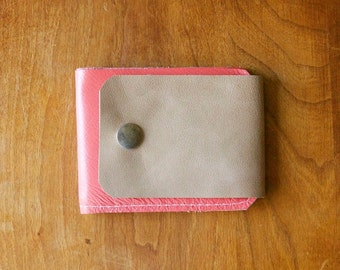 Leather Wallet in Coral Pink & Elephant Gray