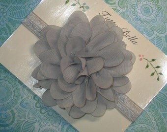 Gray Flower Headband, Silver Chiffon Headband, Grey Headband, Baby Headband, Gray Baby Hair Bow, Toddler Headband