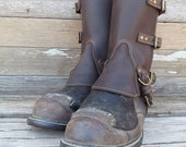 Steampunk Swiss Military Style Gaiters or Spats in Oiled Chocolate Brown Leather w Antiqued Brass Hardware