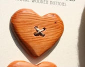 2 Yew Wood Heart Buttons- Handmade Wooden Button in Reclaimed Maple- Knitting, Sewing, Craft Buttons