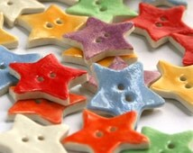 Star Buttons - Ceramic buttons - Handmade buttons - Sewing buttons - buttons for sewing - Scrapbook Embellishment Button - Porcelain Buttons