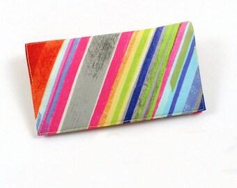 Fiesta Stripe Checkbook Cover for Duplicate Checks with Pen Holder Orange Aqua and Gray Cotton Fabric
