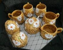 Coffee/Tea  Set ~ Daises  Coffee Cups~ Salt & Pepper Shakers - Cream - Sugar ~Original Spoon ~ Made in Japan    ~   Fred Rogers