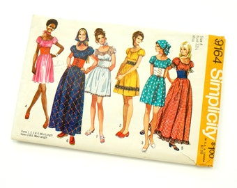 """Vintage 1970s Womens Size 8 Pheasant Dress in Two Lengths and Head Scarf Simplicity #9164 Sewing Pattern Complete b31.5 w23"""" Boho Hippie"""