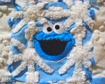 Playful Handmade Blue and White Vintage Chenille Quilted Lovey - Ready for Purchase