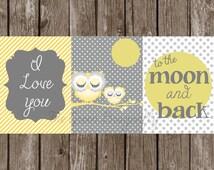 Custom 3 piece Owl Yellow Grey Digital Print Gift diy Decor Nursery I love you to the moon and back