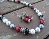 Ombre Gray and White Pearls with Black Crystals and Red Mother of Pearl Necklace and Earrings