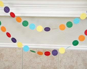 Primary Colors Paper Garland, Rainbow Wedding Decoration, Kids Paint Theme Birthday Party, Artist Party, Rainbow Bride