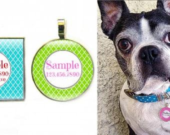 Quatrefoil Pattern Pet ID Tag-