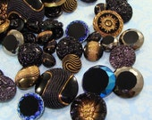 30 Assorted Czech GLASS BUTTONS Bulk Jewelry Supplies Bulk Beads Black Gold and Bronze Faceted Some Iridescent  with Shank