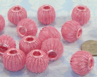10 Pink Mesh Beads 16mm Pink Pumpkin Melon Bead Jewelry Supplies Breast Cancer Awareness Hoop Earrings and Friendship Bracelet Bulk Beads