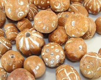 50 Terra Cotta Clay Beads for Jewelry Supplies Camps Scouts Bulk Beads for Craft Projects Tribal Ethnic Handmade Indian African Style