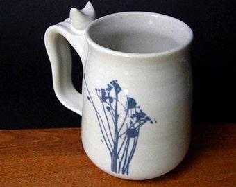 White Stoneware Coffee Mug  ~ Wild Weed Design ~