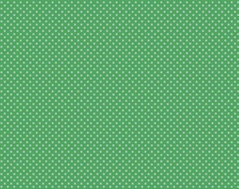 Green polka dot fabric, cotton fabric by the yard or half yard fabric, or fat quarter, apparel fabric, quilt fabric