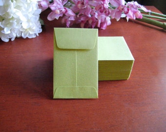 "50 MINI ENVELOPES - CHARTREUSE - Green 3.75"" x 2.25"""