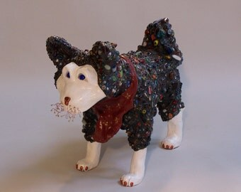 Mosaic Husky Dog Sculpture - ******ON SALE*******Spirit of the Pack - Custom Pieces Available Upon Request