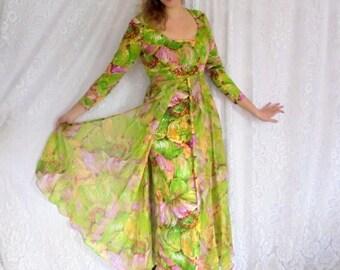 Designer Vintage Gown, Chiffon Overlay Maxi Dress