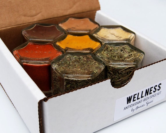 SALE // Gift Idea for Mother In Law! Wellness Spice Kit:  Magnetic Jars Filled with Organic Seasonings that Help Fight Disease.
