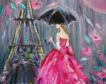 Fine Art Print of Mixed Media Painting Contemporary Paris Woman with Umbrella in the Rain Pink Dress